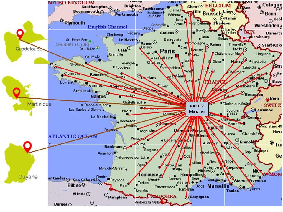 Les formations RACEM à travers la France et les DOM TOM